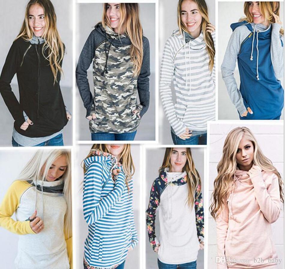 Mujeres Dedo Hoodie Impresión Digital Abrigos Cremallera Lace Up Manga Larga Jersey Blusas de Invierno Sudaderas Con Capucha Outwear 9 Estilos OOA3396