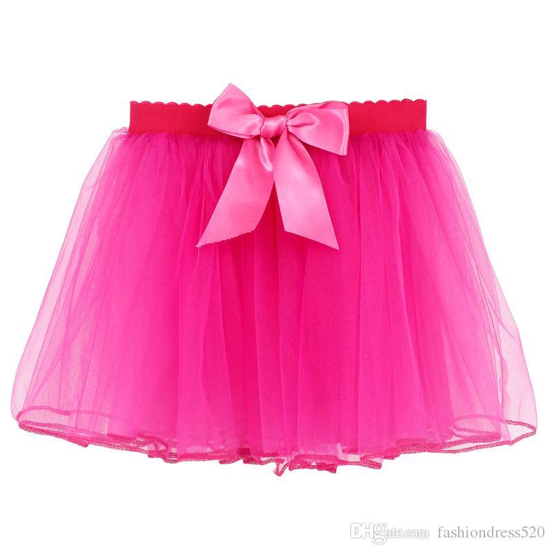 Tulle Fluffy Children Girls TuTu Gonne Girl Gonne danza con nastro in raso Bowknot Principessa gonna a strati Bubble Skirt 3-14Y