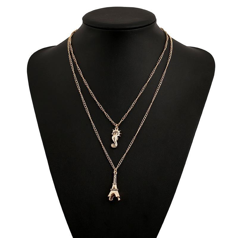 2018 neue Eiffelturm Anhänger Halsband Halsband Halskette Gold überzogene Anhänger Halsketten Aussage Schmuck Großhandel
