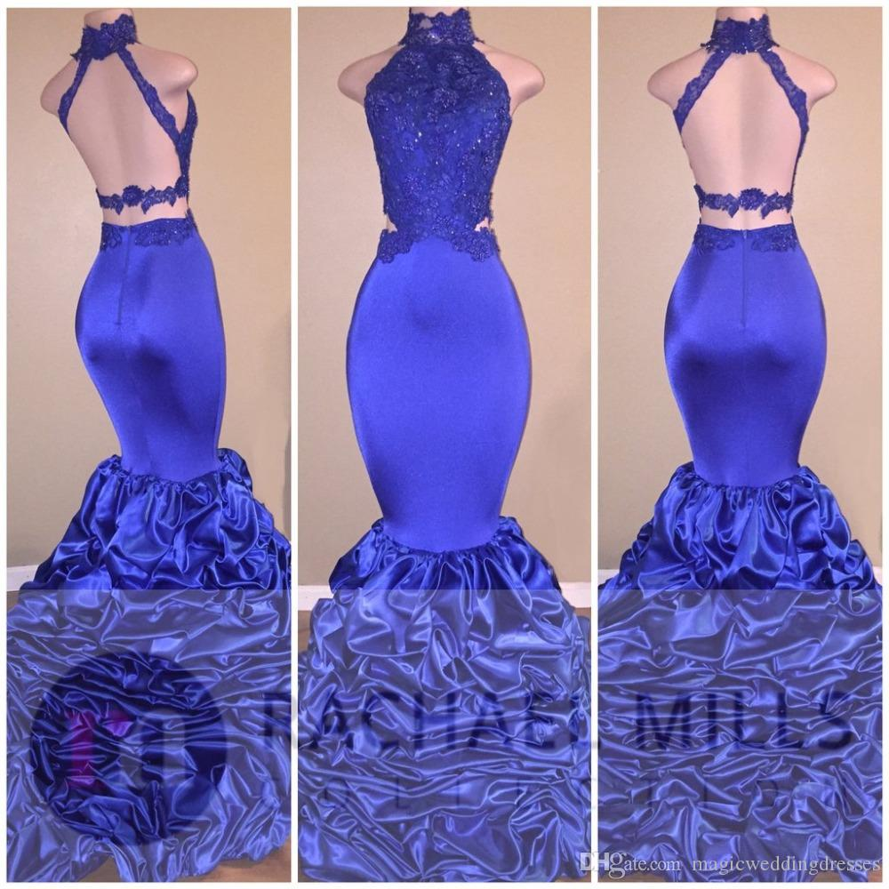 Hot Sale 2017 Sexy Backless Royal Blue Mermaid Prom Dresses Crop Top Lace Ruffles Train Real Image Vestidos De Novia Evening Occasion Gowns
