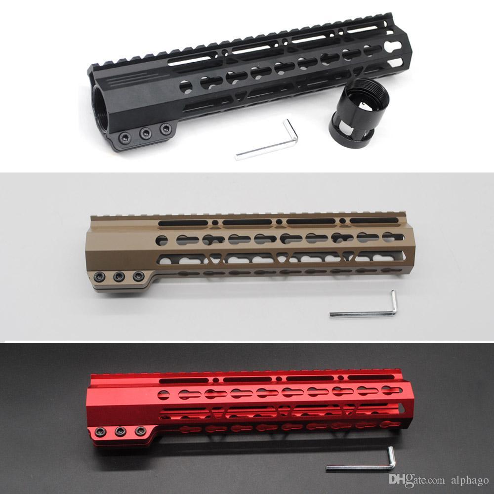 블랙 / 탄 / 레드 10 인치 슬림 Keymod 핸드 가드 무료 부동 Picatinny 레일 마운트 시스템 .223 / 5.56 라이플 AR-15 / M4 / M16 인치