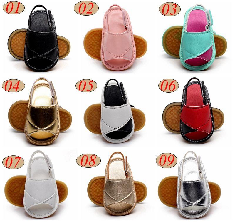 Лето малыша кожаные сандалии детские резиновые подошвы обувь новорожденных девочек мальчиков мягкой подошвой искусственная кожа детские первые ходунки Детская обувь 9color 0-2Year