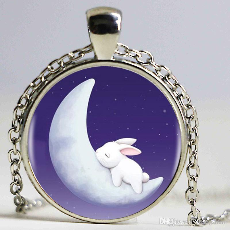 Moon Bunny Sono Heartshaped Bronze Banhado Pingente de Colar de Coelho Da Lua Animal Charme Vintage Colar de Jóias Bijoux