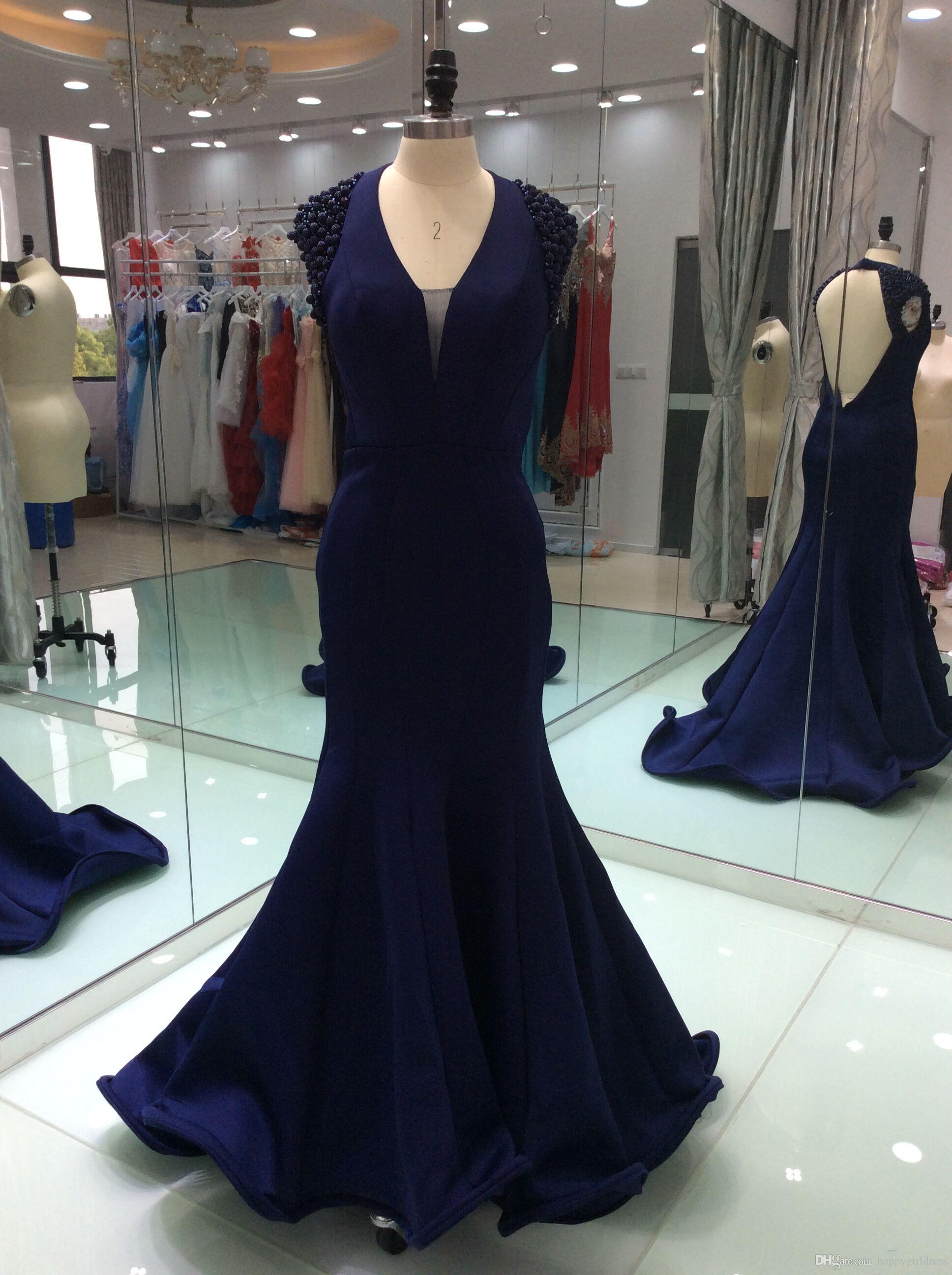 2017 Real Pictures Mermaid Prom Dresses V Neck Backless Beads Crystals Sweep Train Formal Evening Prom Gowns Custom Made