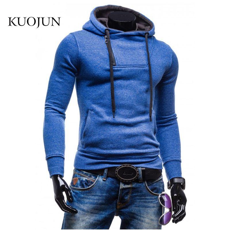 Wholesale-PKORLI 2016 جديد وصول الرجال هوديس الجانب سستة تصميم السترة الذكور البلوز سترة poleron hombre xxl