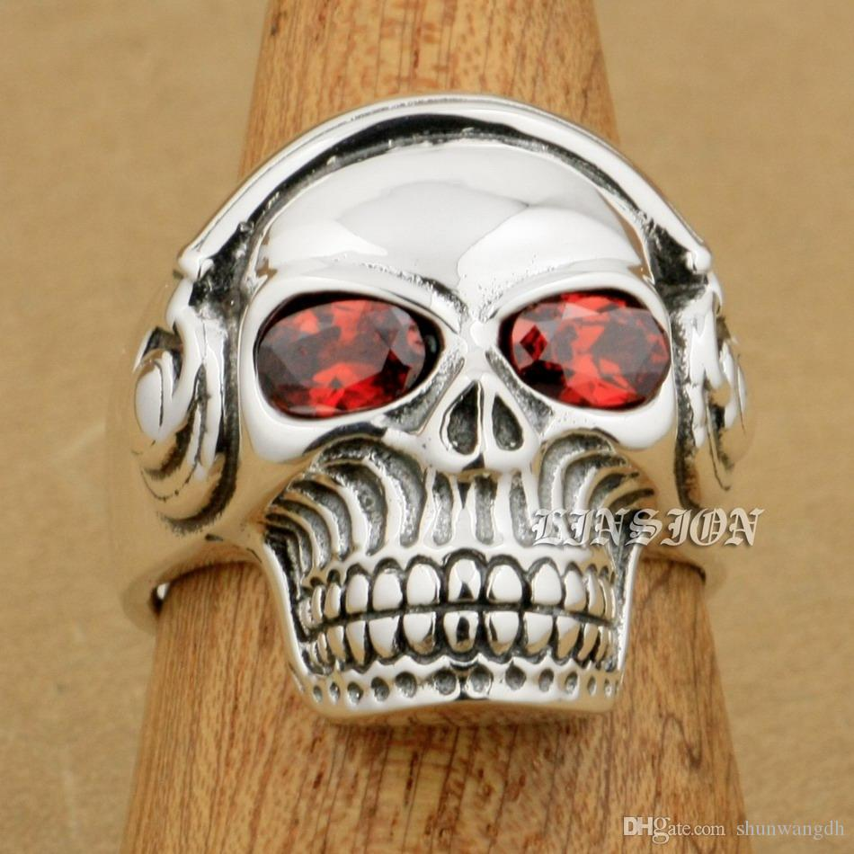 925 Sterling Silver red/&white Zircon Skull Mens Biker Rocker Punk Stud Earring
