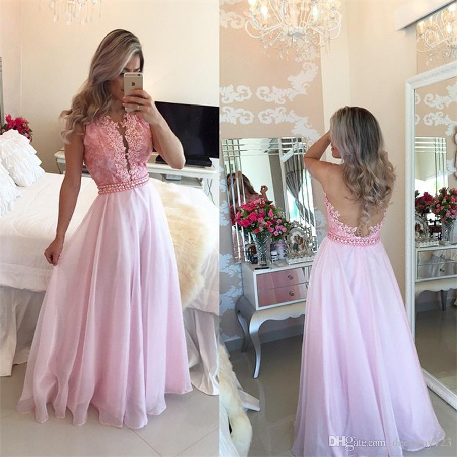 Pink Sheer- 30D Chiffon Crystal Appliques A-Line Sexy Prom Dresses Deep V-neck Illusion Back Evening Dress vestidos de fiesta tallas grandes