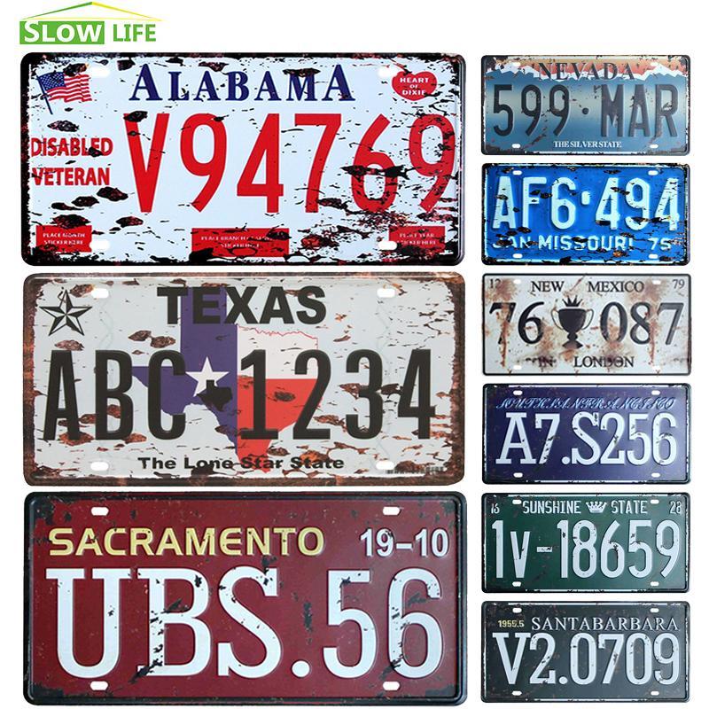 Atacado Estados Unidos Car License placa de metal Vintage Home Decor Tin Signs Bar Pub Cafe Decor de Metal Sign Garagem Pintura Plaque etiqueta