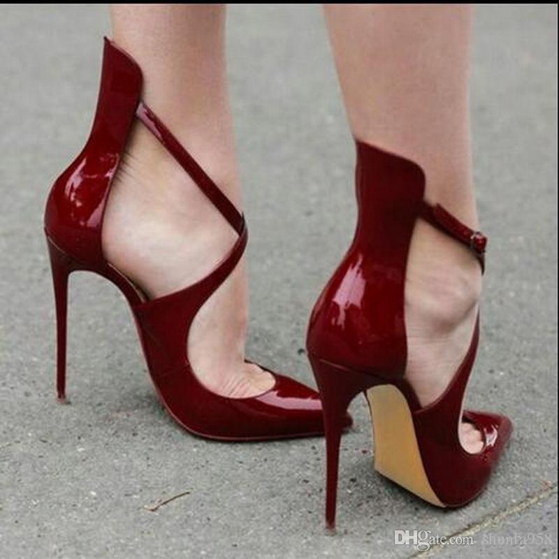 2017 neueste Ankunft Marke J C High Heels Sandalen Frauen 12 cm Spitzen Sexy Mode Kreuz ausschnitte Schuhe Schnalle hochhackigen Sandalen Größe 34-45
