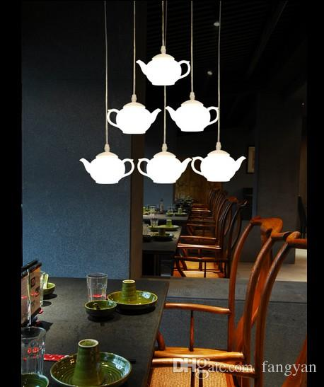 Lâmpadas de iluminação LED Lighting pingentes de acrílico lâmpada copo bule luz Hotel café loja de decoração luzes