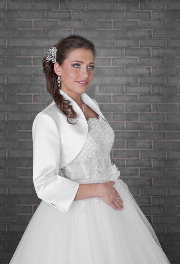 Plus Size Bridal Jackets Satin Shawl Bolero Wedding Jacket Bridal ...