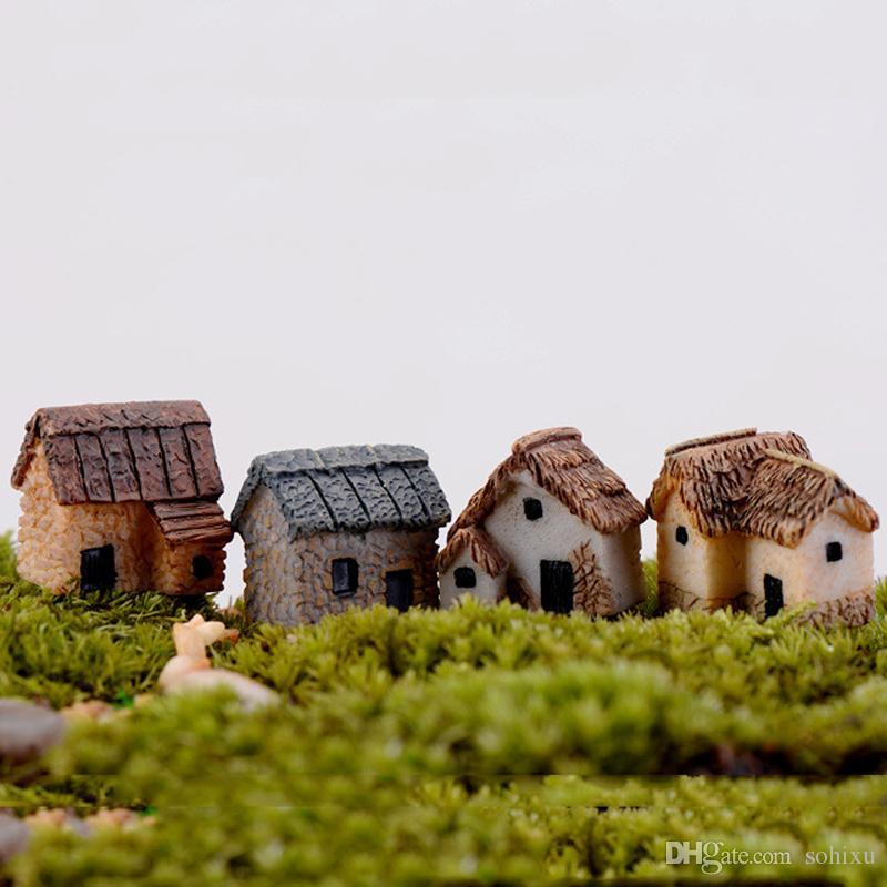 4 stücke Mini Haus Cabin Dekoration Zubehör Fee Garten Miniaturen Harz Handwerk Terrarium Figuren Bonsai Werkzeuge Staues jardin Gnome