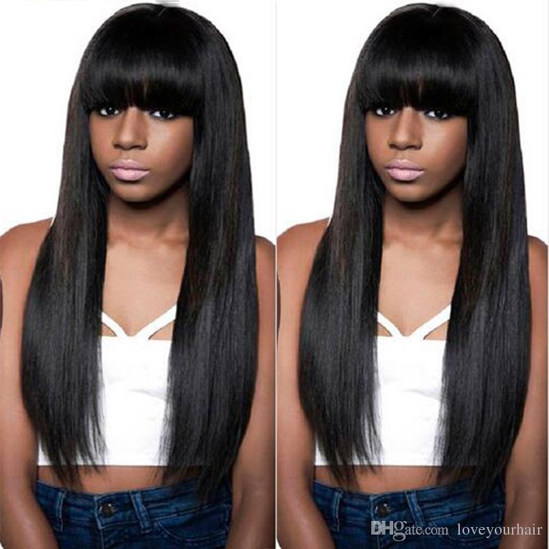 Pelucas de cabello humano de simulación de peluca recta larga de calidad pelucas rectas largas sedosas con flequillo completo para mujeres negras en Stock