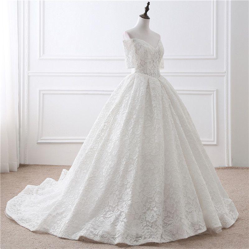In Stock Lace Wedding Dress Half Sleeve V-Neck Wedding Dresses ...