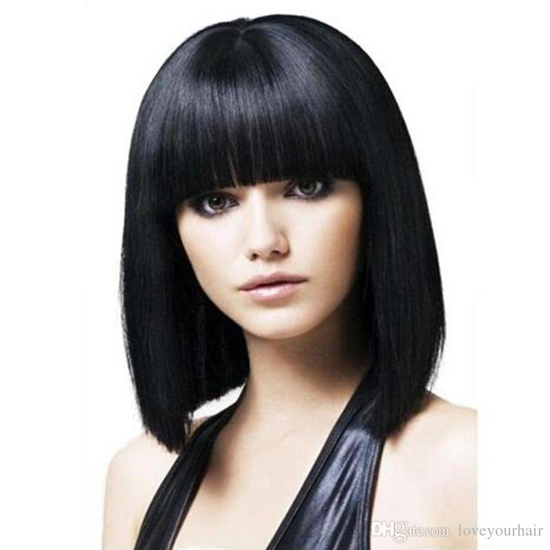 Beautiful silky straight short bob wig simulation human hair full short bob style full wig free shipping in stock