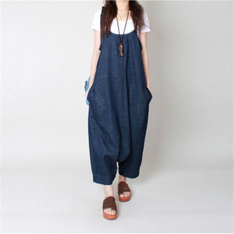 Yeni Büyük Szie Sonbahar Kadınlar Harem Gevşek Jeans Tulumlar Denim Kayış Kasık Geniş Bacak Kovboy Rahat Dokuzuncu Pantolon tulum Bırakılan
