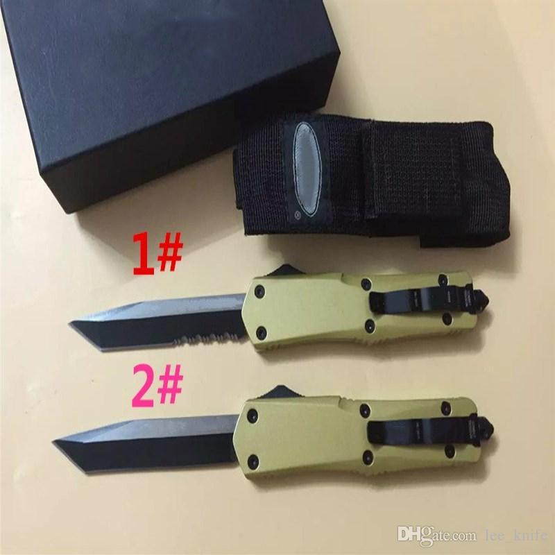 Gold mi single front T head A07 trod tids Hunting Folding Pocket Survival Knife Xmas gift for men 1 pcs freeshipping