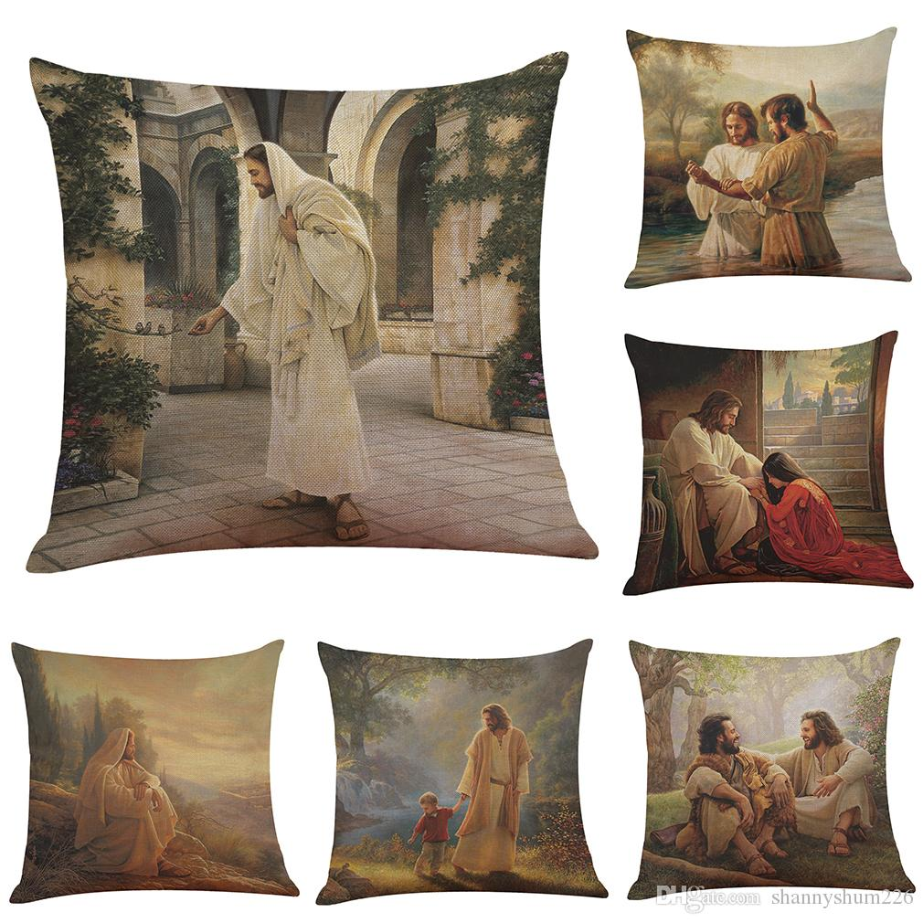 Retro Jesus Linen Cushion Cover Home Office Sofa Square Pillow Case Decorative Cushion Covers Pillowcases Without Insert(18*18Inch)
