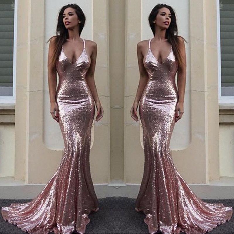 2017 Sexy V Neck Sequins Mermaid Prom Dresses Sleeveless Red Carpet Celebrity Dresses Sparkly Maternity Occasion Evening Dress Custom Made