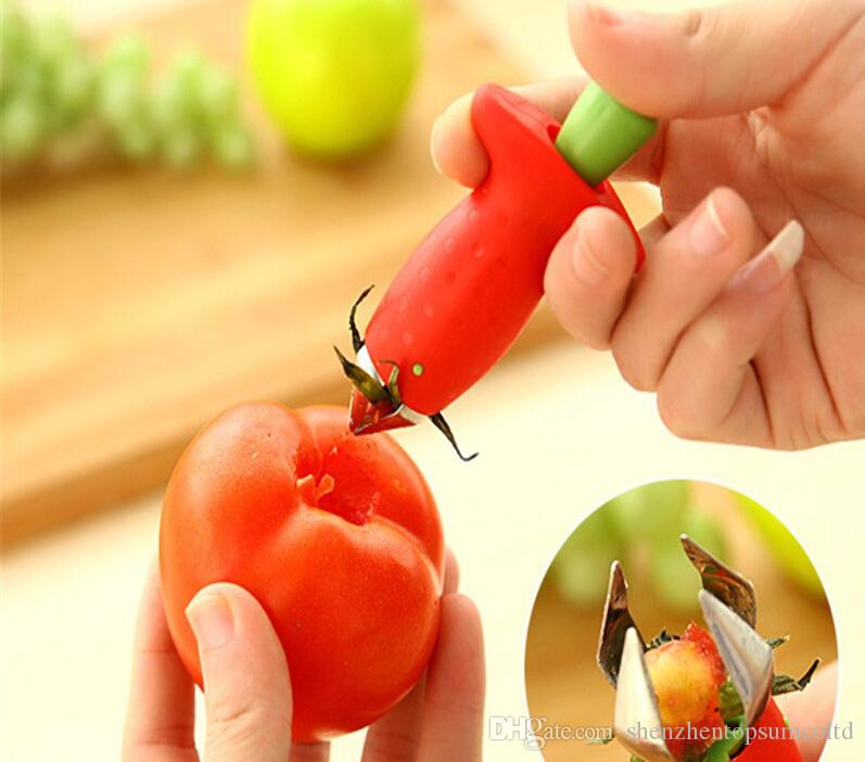 Strawberry Hullers Metal + Plastic Fruit Remove Tallos Dispositivo Tomato Tallos Strawberry Knife Stem Remover