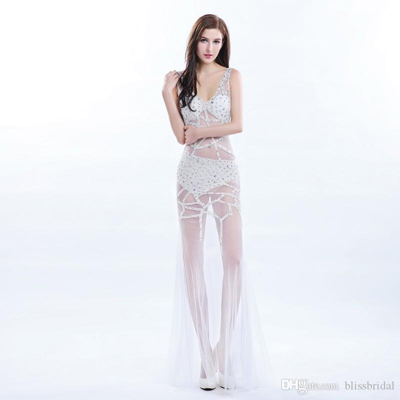 Fashion See-Through Sparkle V-Neck Floor Length Evening Dress Crystal Sequin Tulle Sheer Gown Sexy Criss-Cross Bandage Club Wear Ball Gowns