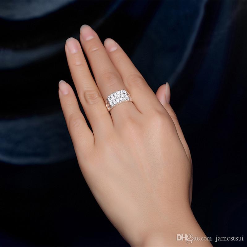 Visisap anillo de color blanco micro pavimenta 18 unids zirconia cúbica anillos de diseño de marca de anillo de bodas para mujeres joyería bijouterie LSR019
