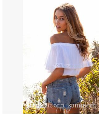 Wholesale-summer 2017 bohemian white crop top for women off shoulder lace splice t shirt camisetas y tops cuello slash women clothing sale