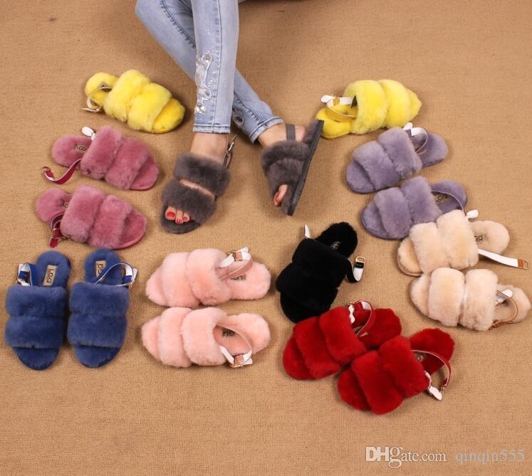 Sıcak satış lüks Highquality Doğal Koyun Kış Sıcak Kürk Terlik Kadınlar Ev Ayakkabıları Sıcak Rahat Düz Topuk Terlik Ücretsiz denizcilikte