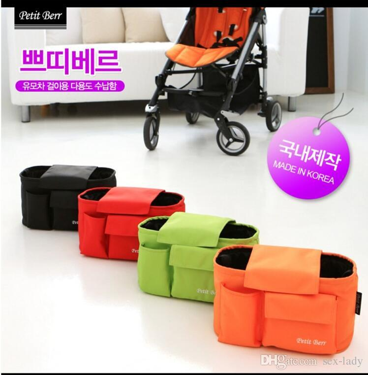 4 colors Baby Hanging Basket Multifunction Stroller Organizer Pram Storage Bag Stroller Accessories Large Capacity Diaper Bag