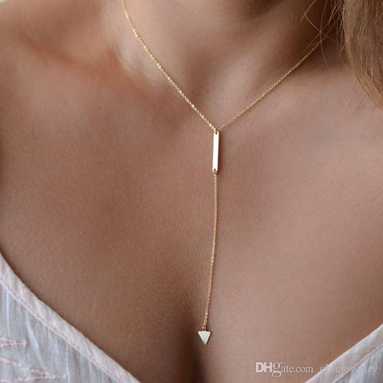 Chic Frauen Anhänger Halsketten Goldene Überzogene Ketten Choker Aussage Lätzchen Y Stil Zierliche Bar Wenig Dreieck Drop Anhänger Kette Lariat Schmuck