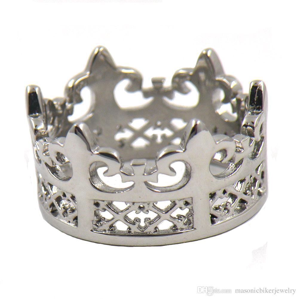 FANSSTEEL нержавеющая сталь Мужская или женская ЮВЕЛИРНОЙ РАВНИНА ФЕРЗЬ корону кольцо перстневиден подарок для девочек ДАДУТ 12W33