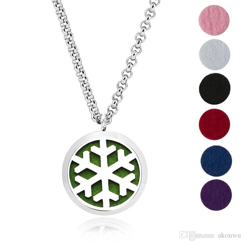 1Pc 30mm Stainless Steel Aromatherapy Fillligree Locket Essential Oil Diffuser Locket Necklace With 6 different Refill Pads MJ5