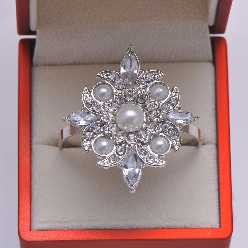 الجملة- (l0715-ring) 50pcs / lot الأزياء حجر الراين خواتم منديل لحضور الزفاف الجدول الديكور، طلاء النيكل