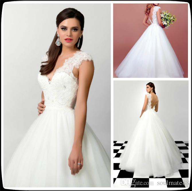 Discount Charming White Wedding Dresses With Lace Cap Sleeve ...