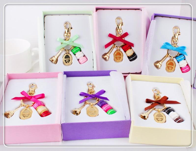 Ücretsiz kargo moda anahtarlık butik Paris, fransa Eyfel Kulesi kek malların akını macarons metal anahtarlık 50 adet / grup