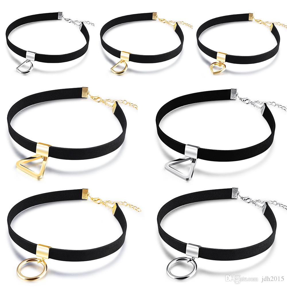 Collier de velours de dame de filles avec anneau en o / lettre D / breloque coeur / chaîne de collier pendentif triangle