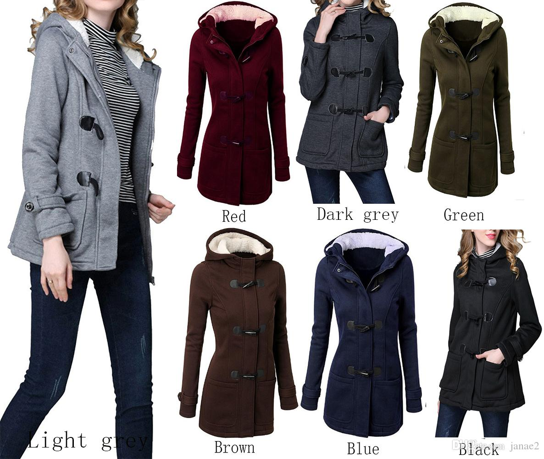Womens Plus Size Fall Winter Horn Button Outwear Warm Hoodie Pea Coat Jacket