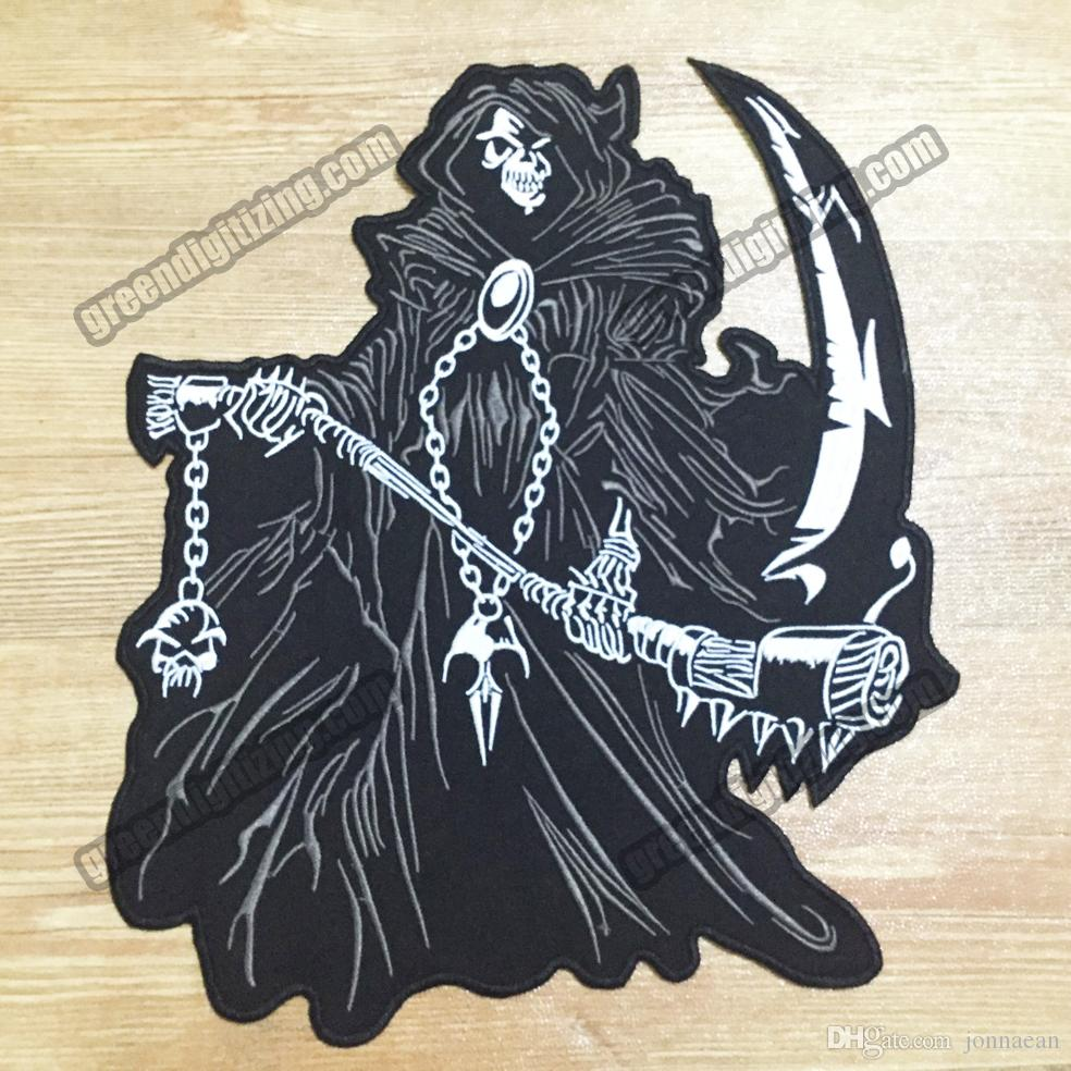 Pricelist Death Reaper Motorcycle Biker Vest Patch Rock Punk Badge Full Back of Jacket Vest Emblem Patch G0399 Free Shipping