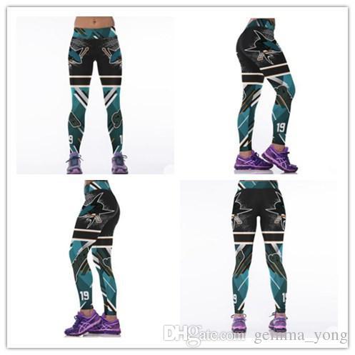 San Jose Sharks Spor Yoga Pantolon Seksi Şınav Hokey Takımı Legging Teal Yeşil Elastik Yüksek Bel Spor Koşu Tayt Womens Beyaz