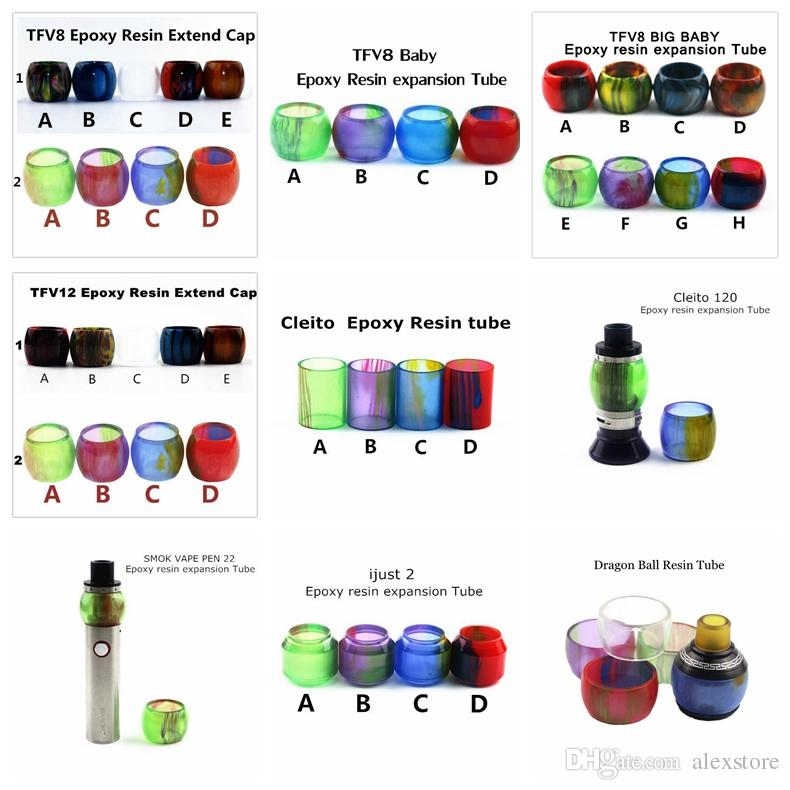 Replacement Resin Tube Caps for Smok TF12 Prince TFV8 Baby Big X Baby Tank Cleito 120 Vape pen 22 iJust 2 Drip Tip Glass
