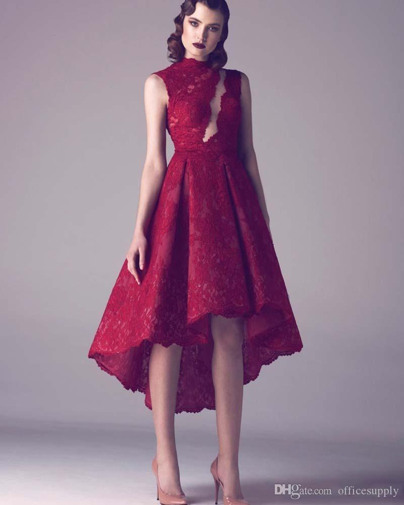 Modest Vintage Wine Red Lace Short High Low Prom Cocktail Dresses ...