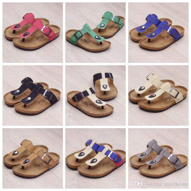Crianças Verão Sandálias De Cortiça Flip-flops Sandálias Praia Chinelos Antiderrapantes PU de Couro Chinelo Casuais Chinelos Frescos Moda Sandalias Calçado B1939