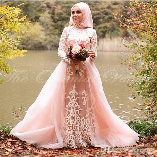 Discount blush pink muslim wedding dress with detachable train blush pink muslim wedding dress with detachable train appliques lace long sleeves bridal gowns with hijab junglespirit Gallery