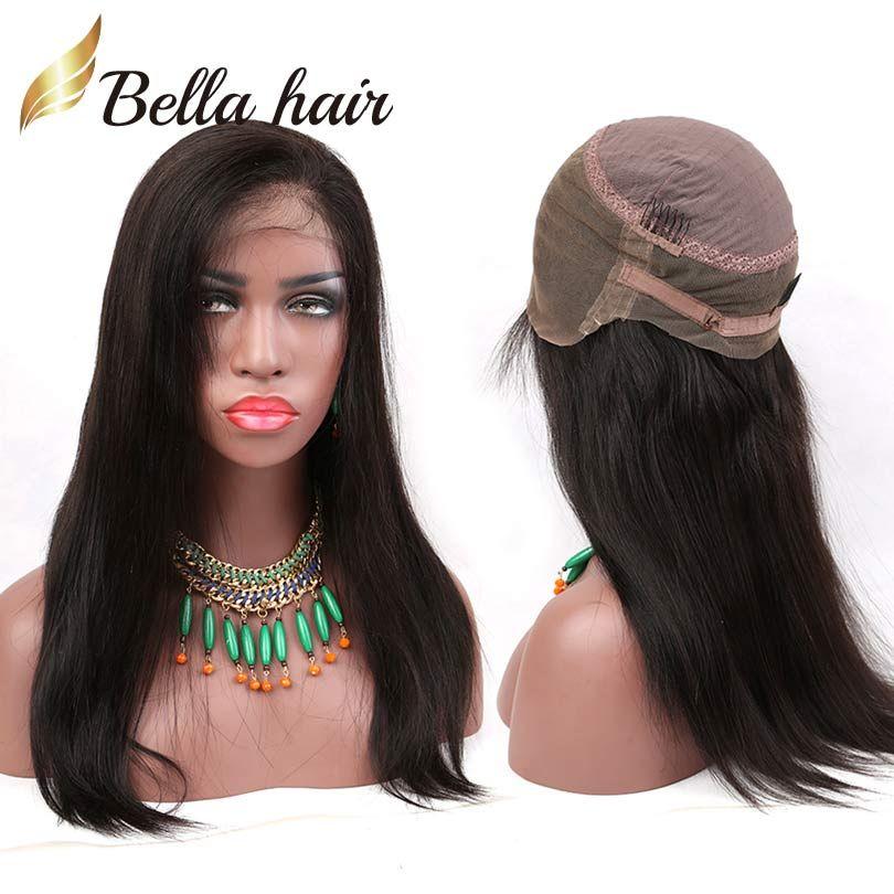 360 الرباط الباروكات البرازيلي العذراء الإنسان الشعر ينسج الإنسان الشعر الرباط الباروكات للنساء السود مستقيم Bellahair 130 ٪ أو 150 ٪ الكثافة