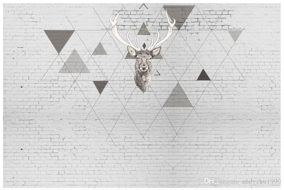 Carta da parati 3D foto personalizzata 3d murales carta da parati cervi e triangolare modello TV sfondo muro di carta 3d soggiorno decorazione della parete