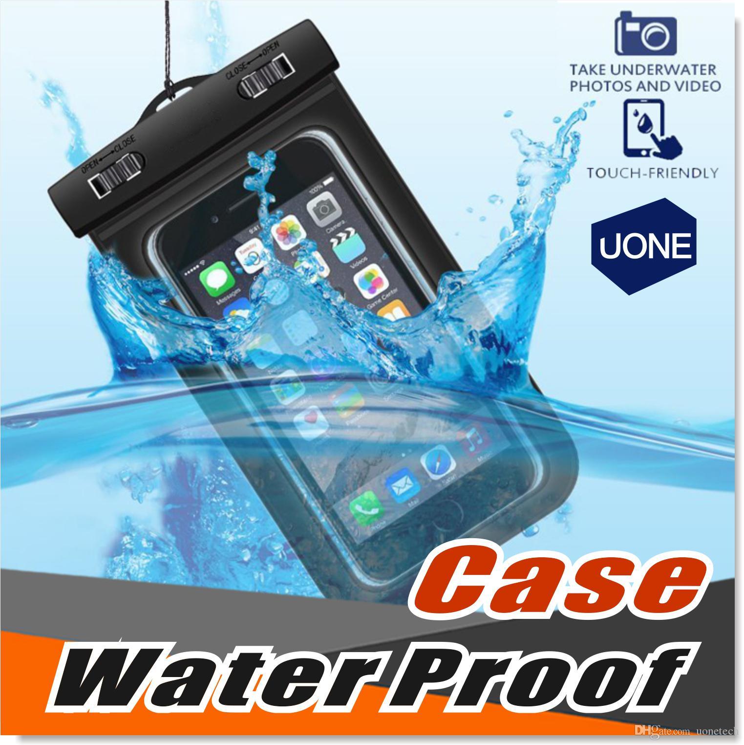 Universal para iPhone 6 7 6s más Samsung S9 S7 impermeable de la caja del teléfono celular bolsa a prueba de agua bolsa seca para teléfonos inteligentes hasta 5,8 pulgadas en diagonal