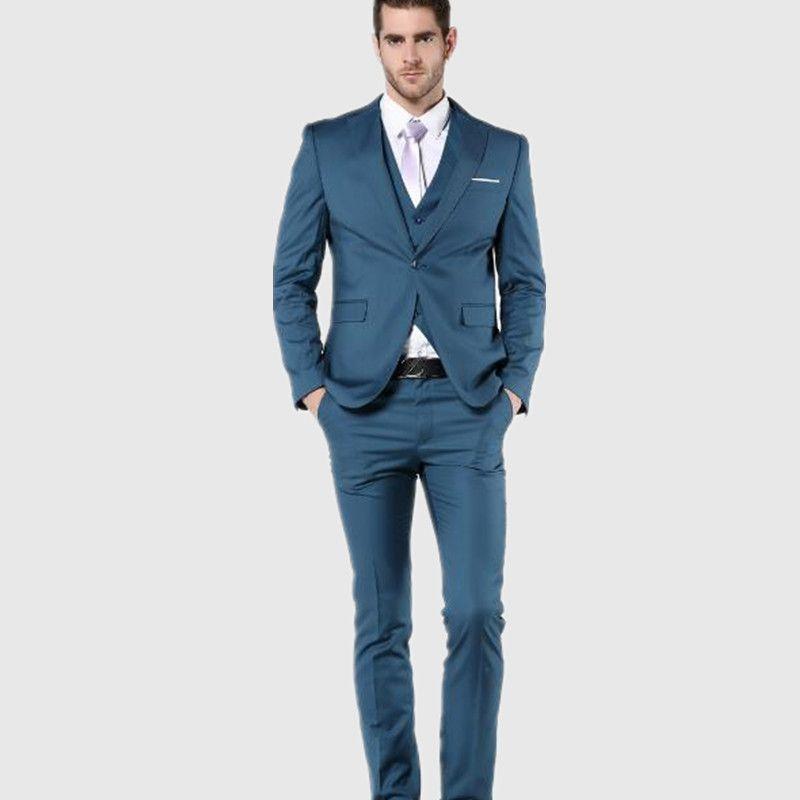 Mavi erkekler smokin suit yeni stil damat düğün takımları smokin terzi yapılan sağdıç erkekler için balo takımları (ceket + yelek + pantolon)