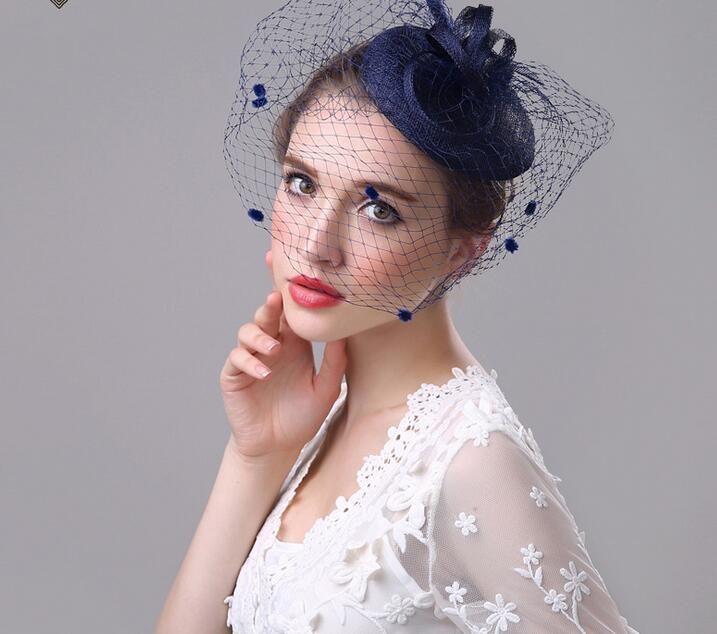 Fascinator di lino della sposa elegante fatto a mano cappello copricapo da sposa squisito decorare cap bella copricapo 4 colori possono scegliere