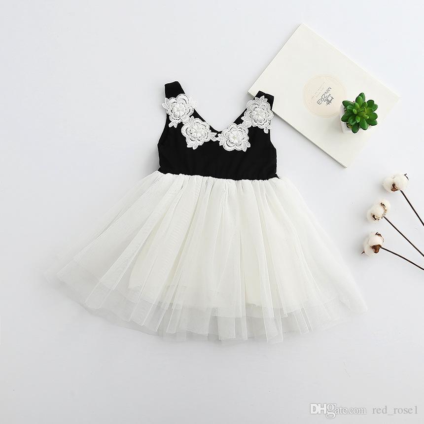 2018 2017 Girls Flower Pearl Dress Baby Girl Kids Party Dress