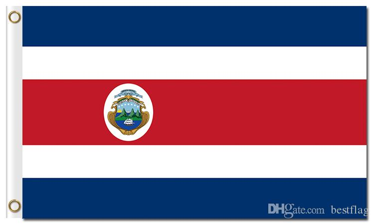 حار بيع أعلام الدولة دولة الأمة الرسمية مع الحلقات 100D البوليستر كوستاريكا أعلام دولة مخصصة